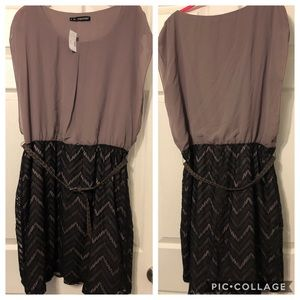 Maurices Grey and Black Chiffon Dress